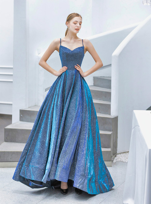 In Stock:Ship in 48 Hours Blue Spaghetti Straps Prom Dress