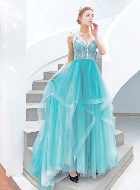 In Stock:Ship in 48 Hours Sky Blue Tulle Spaghetti Straps Prom Dress