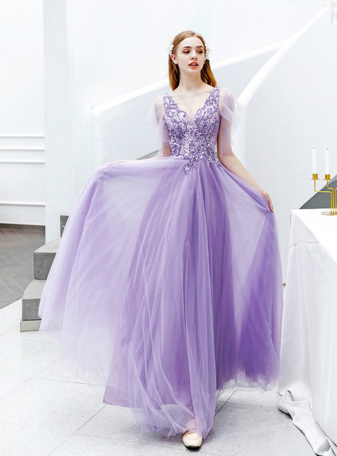 In Stock:Ship in 48 Hours Purple Tulle V-neck Appliques Prom Dress
