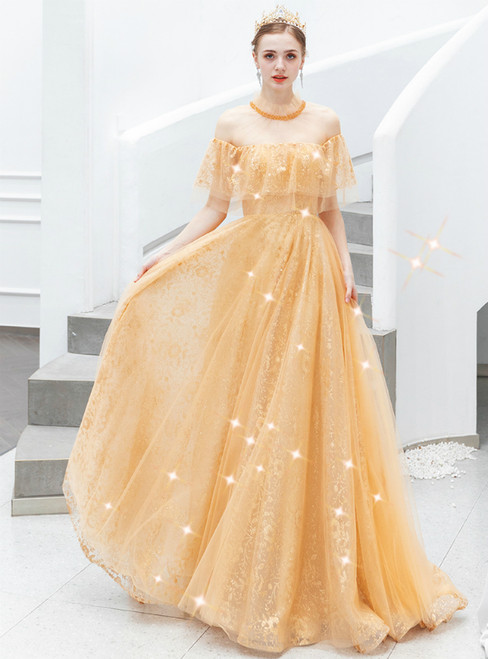 In Stock:Ship in 48 Hours Gold Tulle Lace Long Prom Dress With Beading