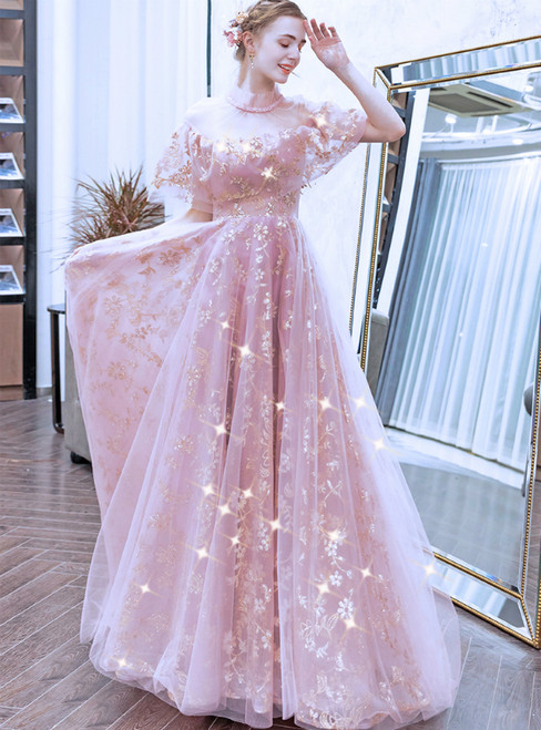 In Stock:Ship in 48 Hours Pink Lace Tulle Prom Dress With Beading