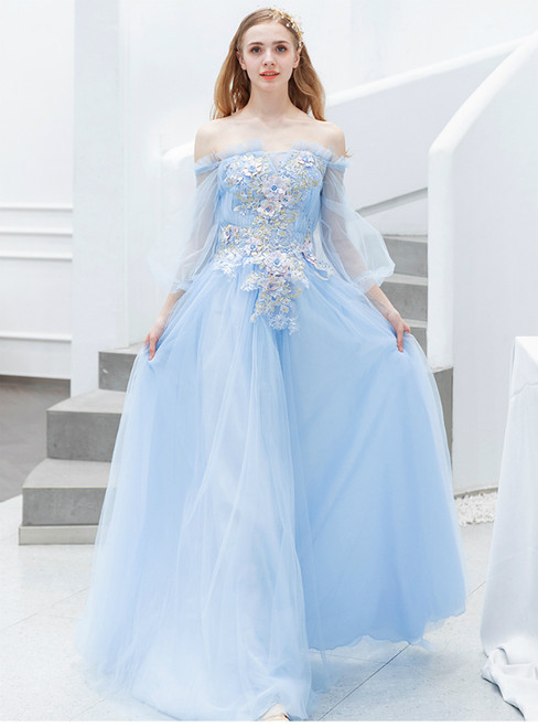 In Stock:Ship in 48 Hours Blue Tulle Off the Shoulder Long Sleeve Prom Dress