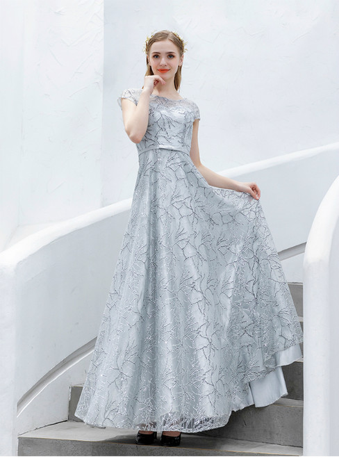 In Stock:Ship in 48 Hours Silver Tulle Sequins Cap Sleeve Prom Dress