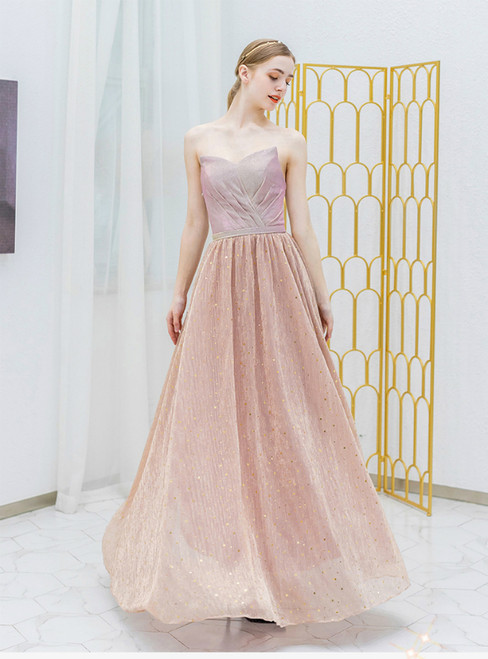 In Stock:Ship in 48 Hours Pink Tulle Sequins Strapless Prom Dress