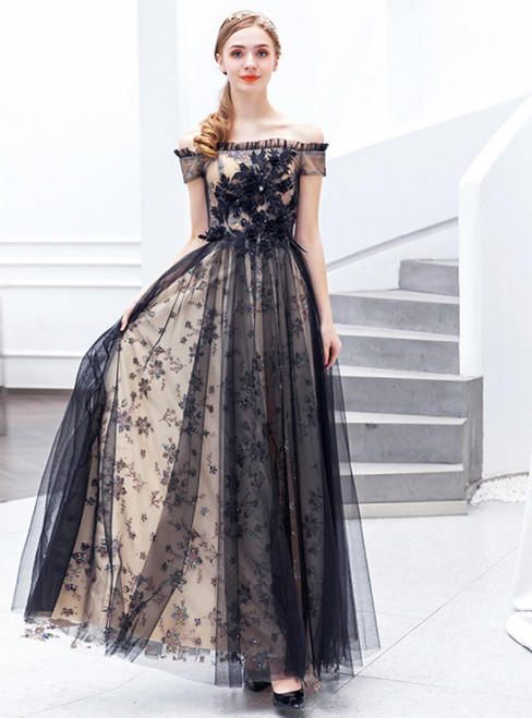 In Stock:Ship in 48 Hours Black Lace Tulle Sequins Prom Dress