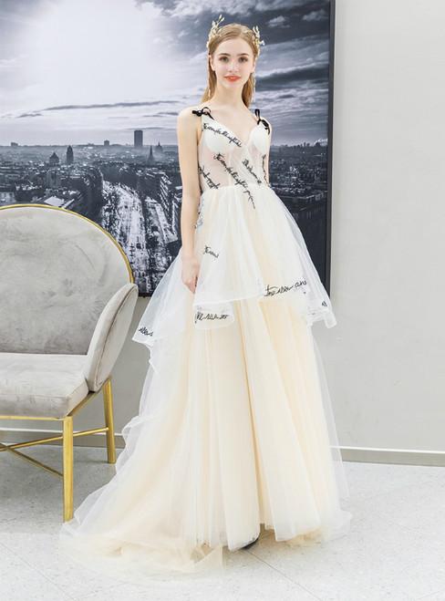In Stock:Ship in 48 Hours Champagne Tulle Spaghetti Straps Letter Prom Dress