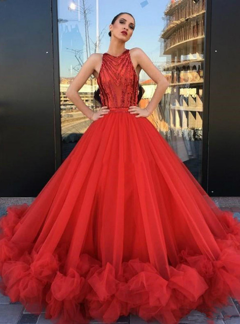 Red Ball Gowns Sequin Tulle Puffy Romantic Evening Dresses