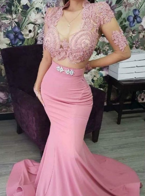 Pink Mermaid Satin V-neck Long Sleeve Appliques Two Piece Prom Dress