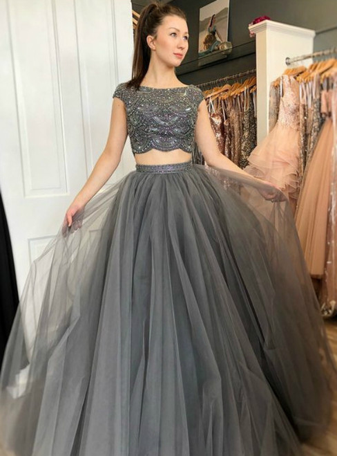 A-Line Gray Tulle Cap Sleeve Two Piece Prom Dress With Beading
