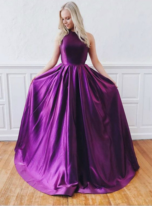 A-Line Purple Satin Backless Long Crossed Straps Prom Dress