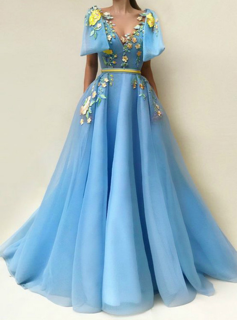 A Line Blue Tulle Floor-length Embroidery Prom Dresses With Pockets