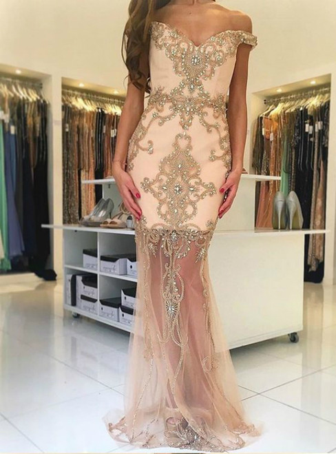 Champagne Mermaid Tulle Off the Shoulder Beading Prom Dress