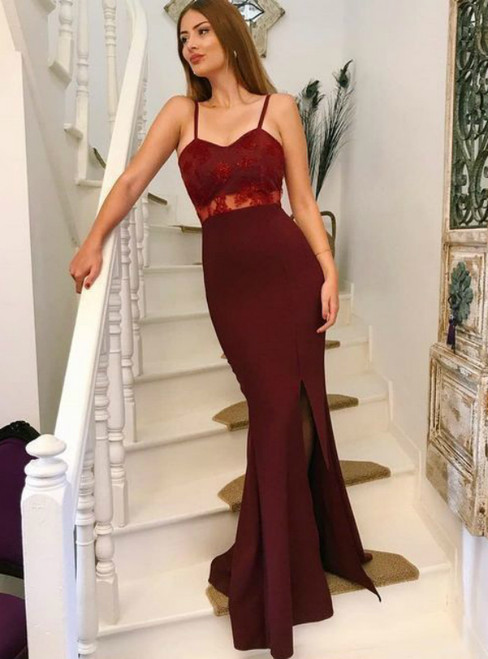 Burgundy Mermaid Satin Spaghetti Straps Appliques Prom Dress With Side Split