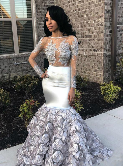 Silver Mermaid Long Sleeve Rose Flower Appliques Prom Dress