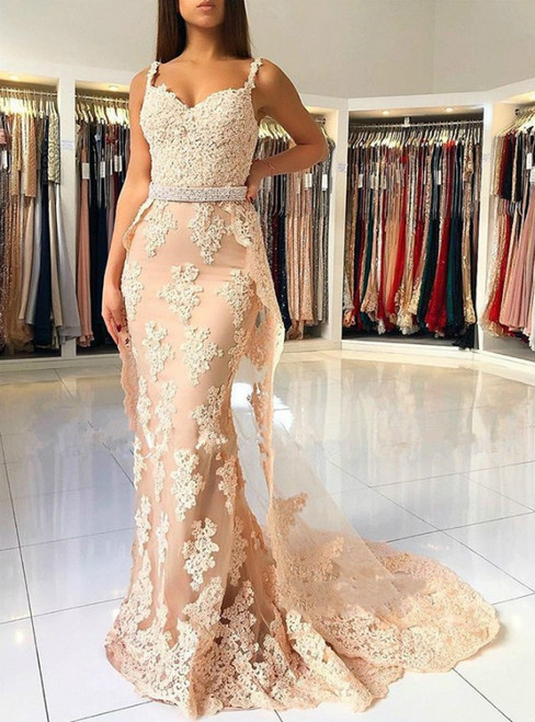Champagne Mermaid Tulle Lace Appliques Straps Prom Dress