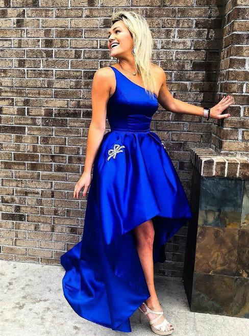 Royal Blue Satin One Shoulder With Pocket Prom Dress
