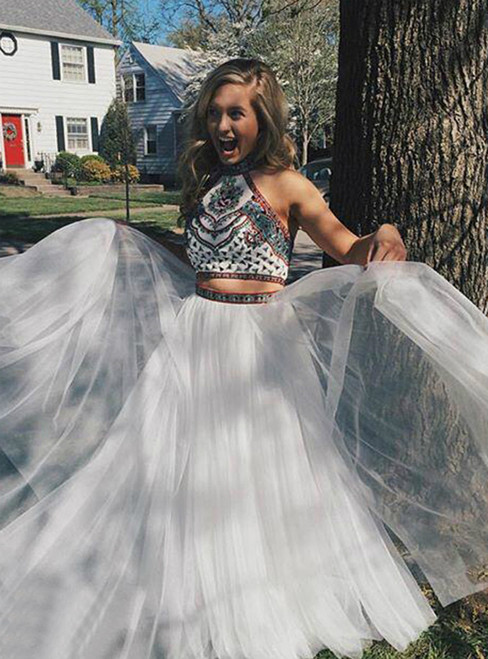 White Two Piece Halter Embroidery Tulle Long Prom Dress