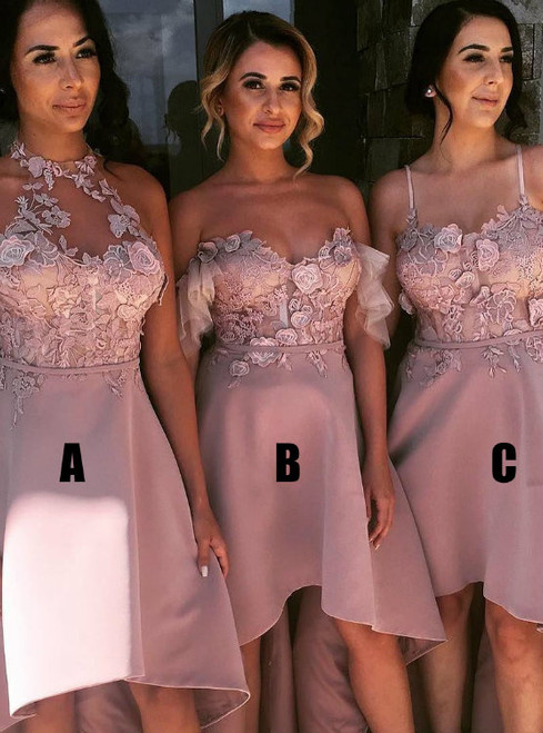 Cheap prom dresses 2017 3 Styles High Low Bridesmaid Long Dress with Flowers
