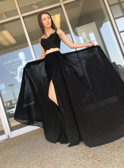 Black Two Piece Chiffon Spaghetti Straps Appliques Prom Dress