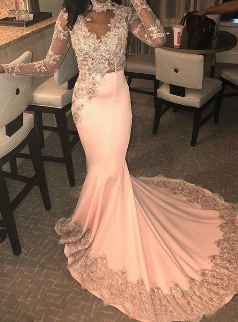 Pink Mermaid Satin Long Sleeve High Neck Appliques Prom Dress