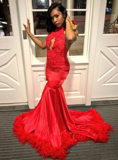 Red Mermaid Satin Appliques Halter Appliques Backless Prom Dress