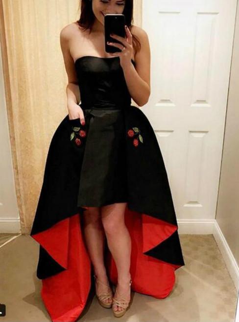 A-Line Black Satin Hi Lo Prom Dress With Pocket