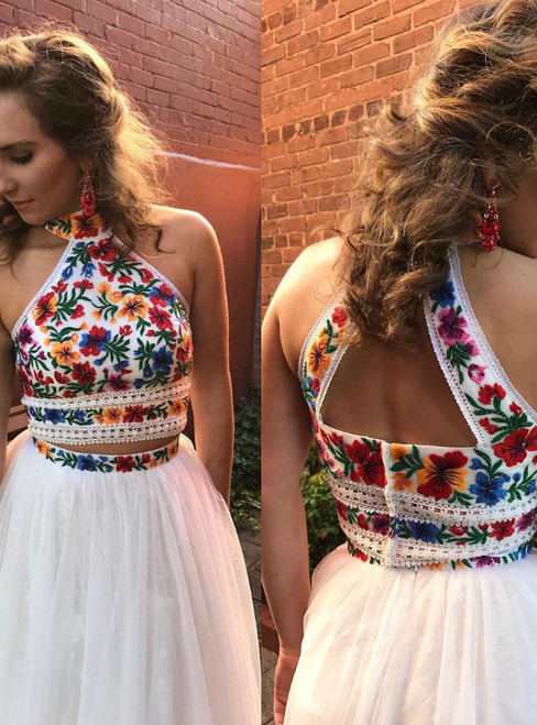 High Neck Two Piece Floral Embroidery White Long Prom Dress