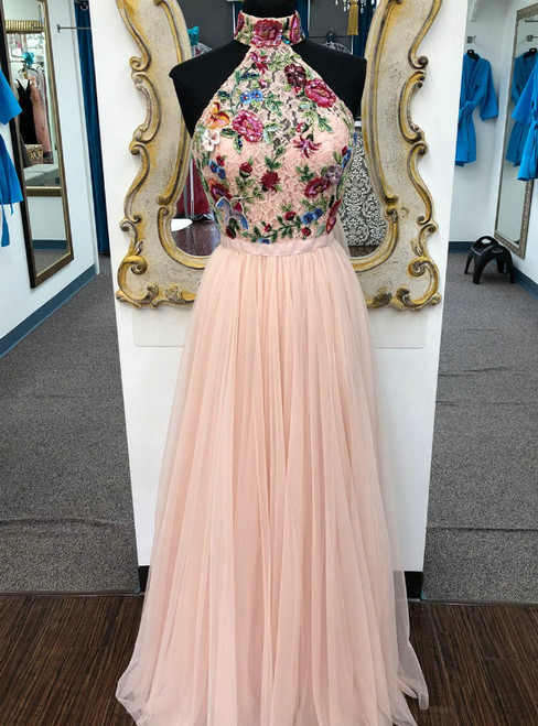 Pink Tulle Halter Embroidery Flower Beading Long Prom Dress