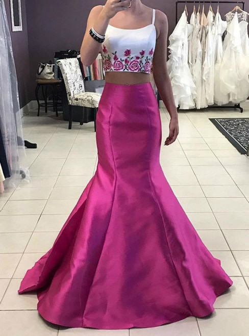 Fuchsia Two Piece Satin Spaghetti Straps Embroidery Prom Dress