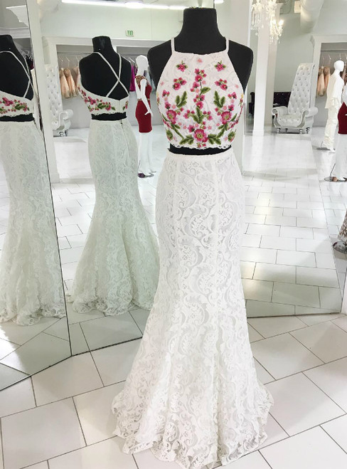 White Two Piece Lace Mermaid Long Prom Dress with Embroidery