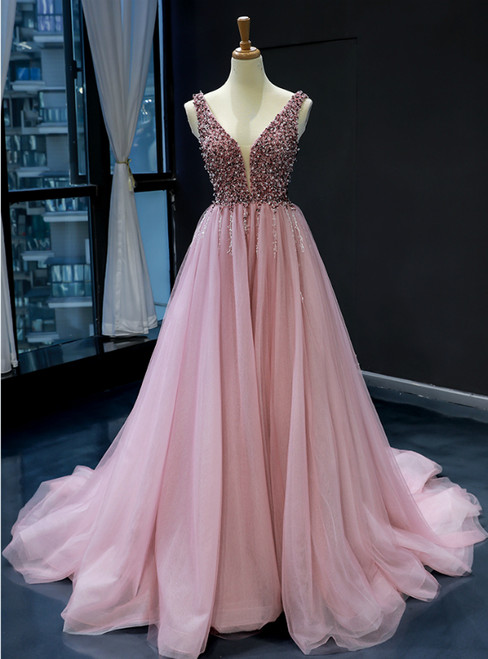 Pink Ball Gown Tulle Deep V-neck Backless Beading Prom Dress