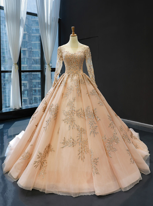 Champagne Gold Ball Gown Tulle Backless Long Sleeve Quinceanera Dresses