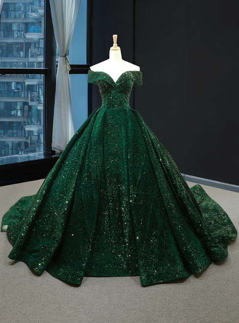 Green Ball Gown Sequins Off the Shoulder Quinceanera Dresses
