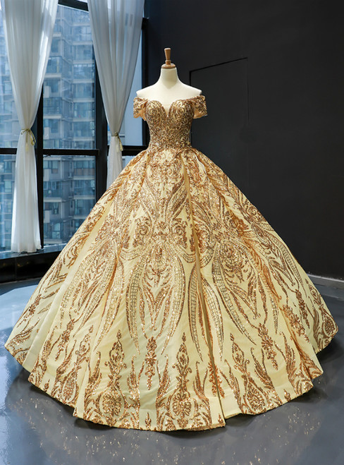 Gold Ball Gown Sequins Off the Shoulder Farmal Quinceanera Dresses