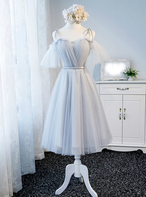 In Stock:Ship in 48 Hours Gray Tulle Straps Short Formal Dress
