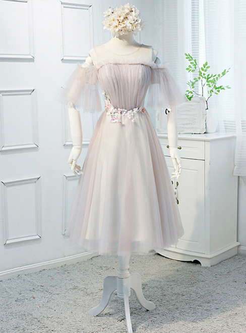 In Stock:Ship in 48 Hours Pink Tulle Appliques Short Bridesmaid Dress