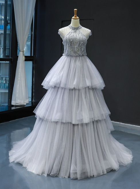 Gray Ball Gown Tulle High Neck Backless Cap Sleeve Prom Dress With Pearls