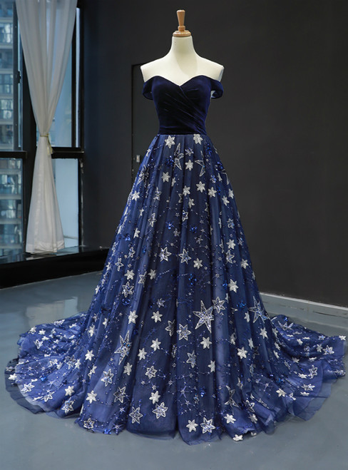 Blue Ball Gown Tulle Star Sequins Off the Shoulder Prom Dress