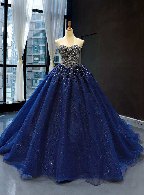 Dark Blue Tulle Sweetheart Beading Sequins Haute Couture Prom Dresses