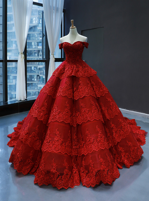 Burgundy Tulle Lace Appliques Off the Shoulder Prom Dress With Beading