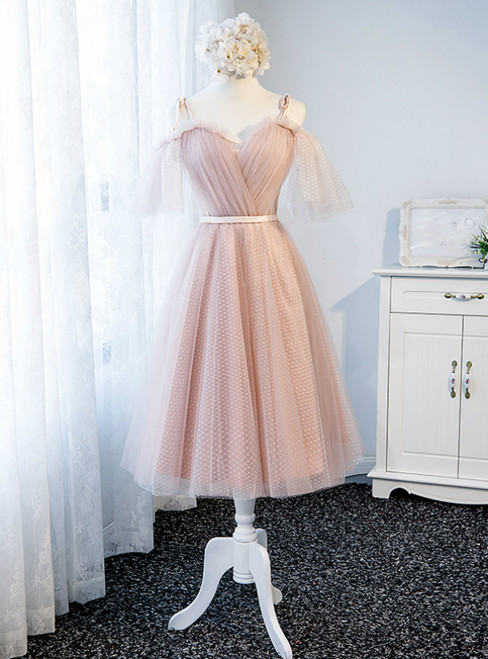 In Stock:Ship in 48 Hours Pink Straps Tulle Bridesmaid Dress