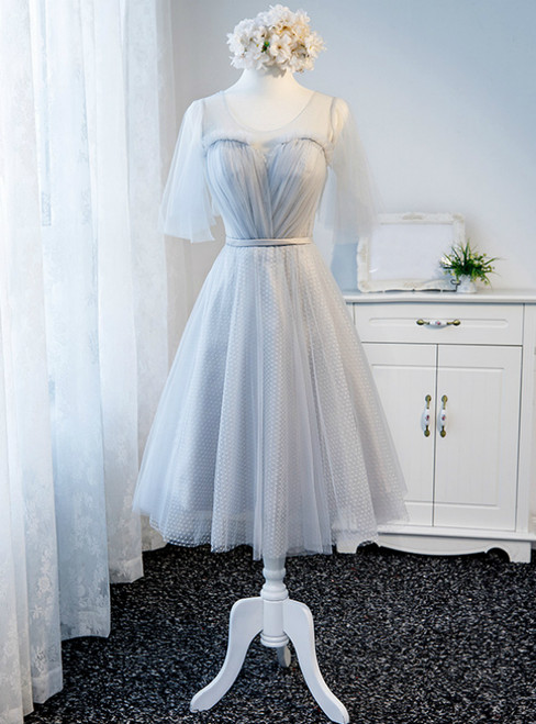 In Stock:Ship in 48 Hours Gray Tulle Backless Bridesmaid Dress