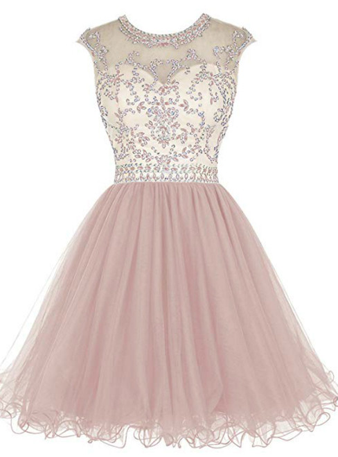 A-Line Pink Tulle Cap Sleeve Beading Sequins Homecoming Dress