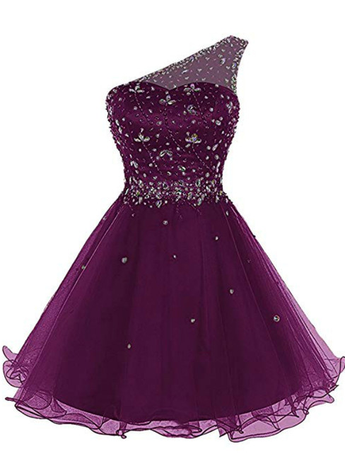 A-Line Purple Tulle One Sholuder Beading Crystal Homecoming Dress
