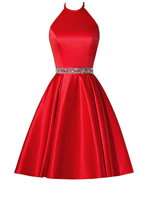 A-Line Red Satin Halter Beaidng Crystal Homecoming Dress With Pocket