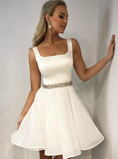 A-Line Square White Tulle Homecoming Dress With Crystal