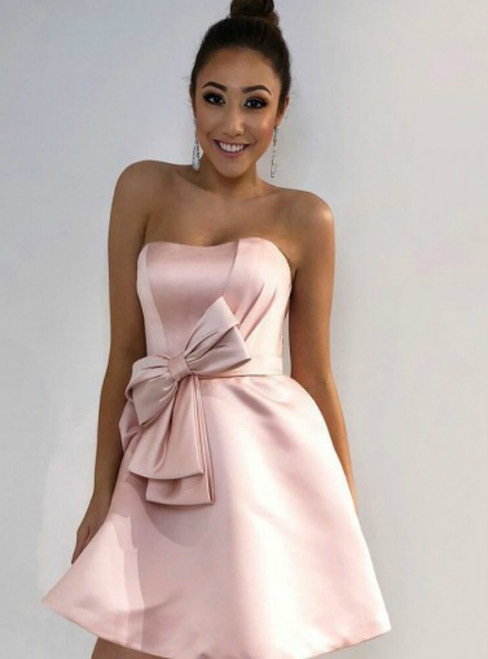 A-Line Strapless Pink Satin Homecoming Dress with Bowknot