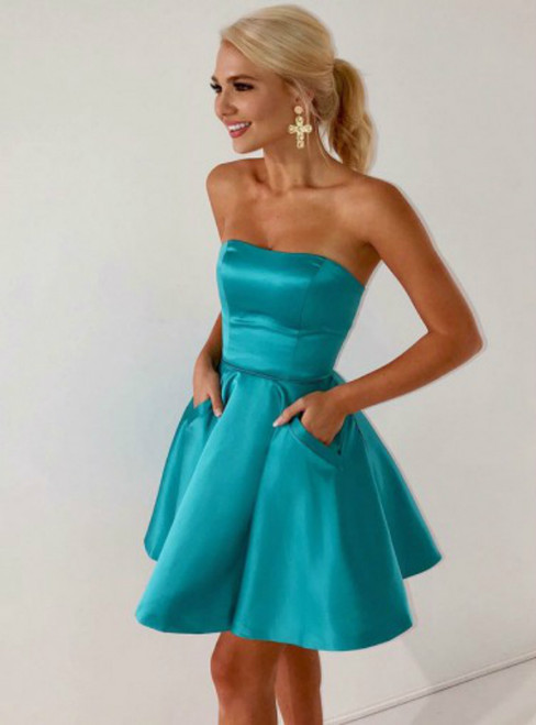 A-Line Strapless Blue Satin Homecoming Dress with Pockets