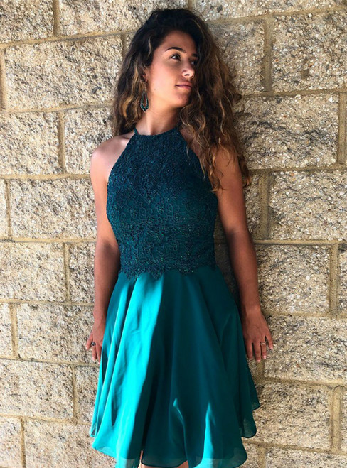 A-Line Turquoise Chiffon Appliques Homecoming Dress with Lace