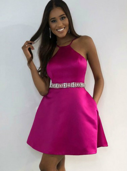 Simple Fuchsia Satin Short Homecoming Dress with Beading Pockets